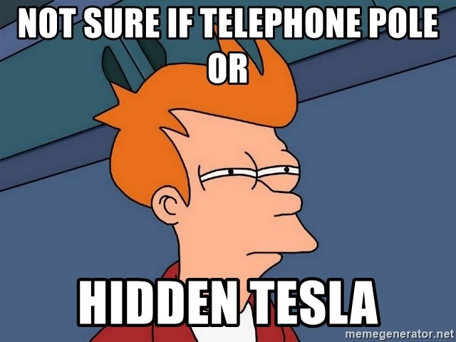 Futurama Fry - Not sure if telephone pole or Hidden tesla