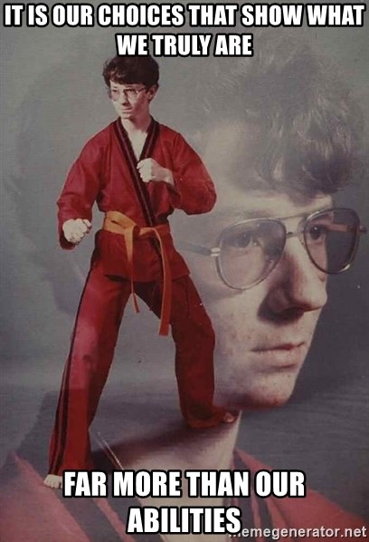 PTSD Karate Kyle - It is our choices that show what we truly are far more than our abilities