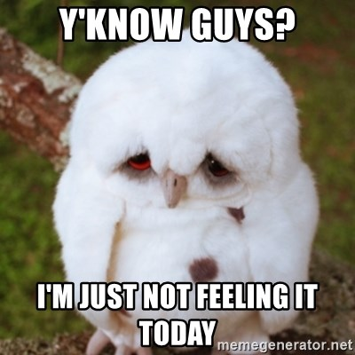 Sad Owl Baby - Y'know guys? i'm just not feeling it today