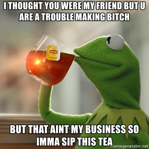 i thought you were my friend but u are a trouble making bitch but that aint my business so imma sip i thought you were my friend but u are a trouble making bitch but