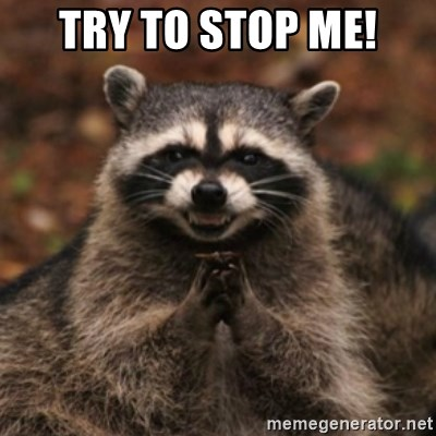 evil raccoon - try to stop me!