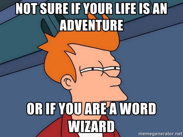Futurama Fry - not sure if your life is an ADVENTURE or if you are a word wizard