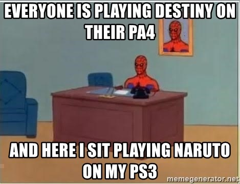 Spiderman Desk - everyone is playing destiny on their pa4 and here i sit playing naruto on my ps3