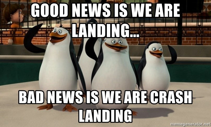 Madagascar Penguin - good news is we are landing... bad news is we are crash landing