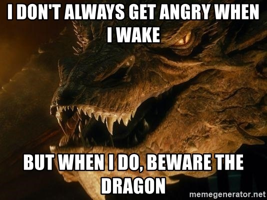 Smaug says - I don't always get angry when I wake But when I do, beware the Dragon