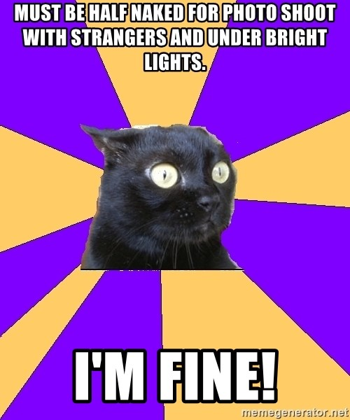 Anxiety Cat - must be half naked for photo shoot with strangers and under bright lights. i'm fine!