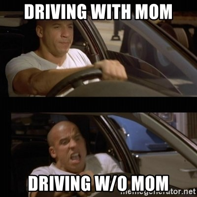 Vin Diesel Car - driving with mom driving w/o mom