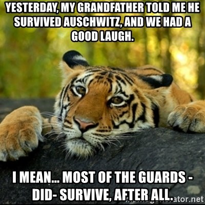 Confession Tiger - yesterday, my grandfather told me he survived auschwitz, and we had a good laugh. I mean... most of the guards -did- survive, after all.