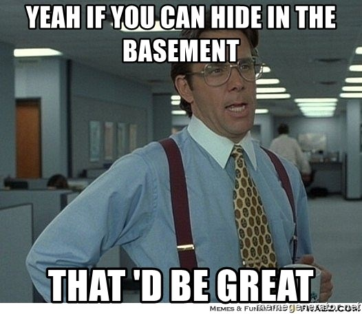 That would be great - Yeah if you can hide in the basement  that 'd be great