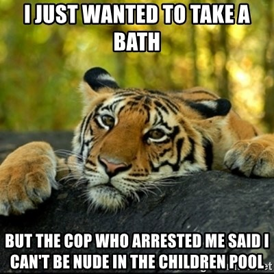 Confession Tiger - I just wanted to take a bath but the cop who arrested me said I can't be nude in the children pool