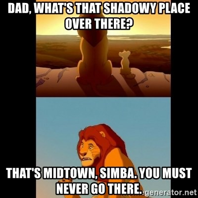 Lion King Shadowy Place - Dad, what's that shadowy place over there? that's midtown, simba. you must never go there.