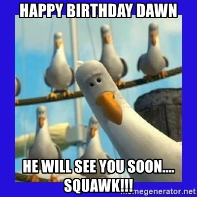 mine seagull - Happy Birthday Dawn He will see you soon.... squawk!!!