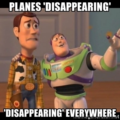 X, X Everywhere  - planes 'disappearing' 'disappearing' everywhere