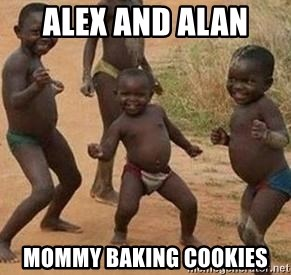 african children dancing - Alex and Alan  Mommy baking cookies