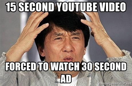 Jackie Chan - 15 second youtube video forced to watch 30 second ad