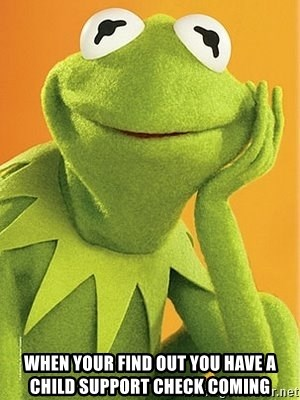 Kermit the frog -  when your find out you have a child support check coming
