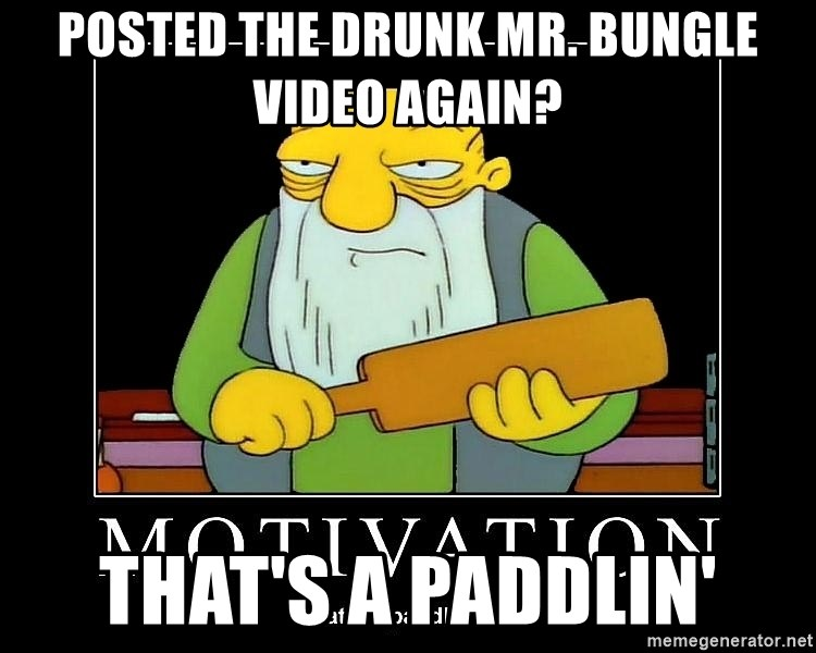 Thats a paddlin - POSTED THE DRUNK MR. BUNGLE VIDEO AGAIN? THAT'S A PADDLIN'