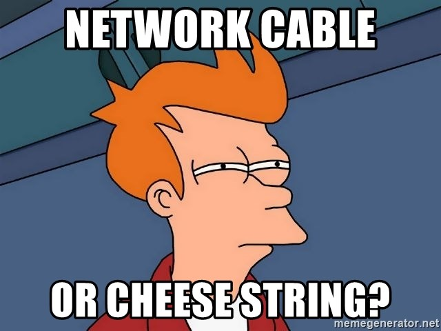 Futurama Fry - Network cable  or cheese string?