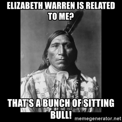 Native american - Elizabeth Warren is related to me? That's a bunch of Sitting Bull!