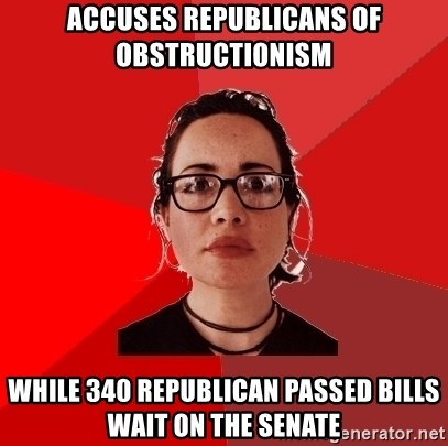 Liberal Douche Garofalo - accuses republicans of obstructionism while 340 republican passed bills wait on the senate
