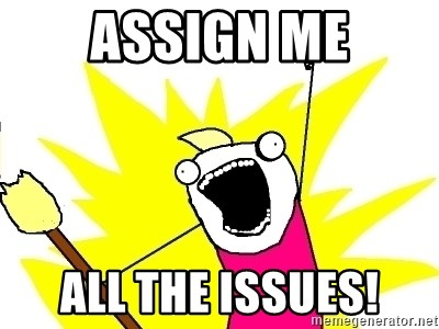 X ALL THE THINGS - assign me all the issues!