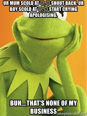 Kermit the frog - Ur mum scold at Ʊ, Ʊ shout back. Ur boy scold at Ʊ, Ʊ start crying apologising. Buh....that's none of my business
