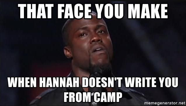 Kevin Hart Face - That face you make  When Hannah doesn't write you from camp