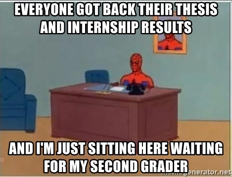 Spiderman Desk - Everyone got back their thesis and internship results And i'm just sitting here waiting for my second grader