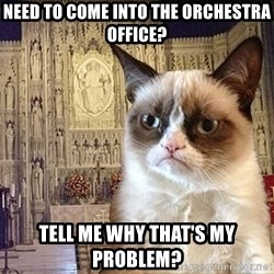 Grumpy Episcopal Cat - Need to come into the orchestra office? Tell me why that's my problem?