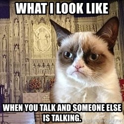 Grumpy Episcopal Cat - What I look like when you talk and someone else is talking.