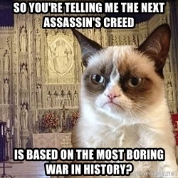 Grumpy Episcopal Cat - so you're telling me the next assassin's creed is based on the most boring war in history?
