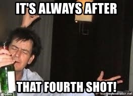 Drunk Charlie Sheen - It's always after that fourth shot!