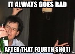 Drunk Charlie Sheen - It always goes bad after that fourth shot!