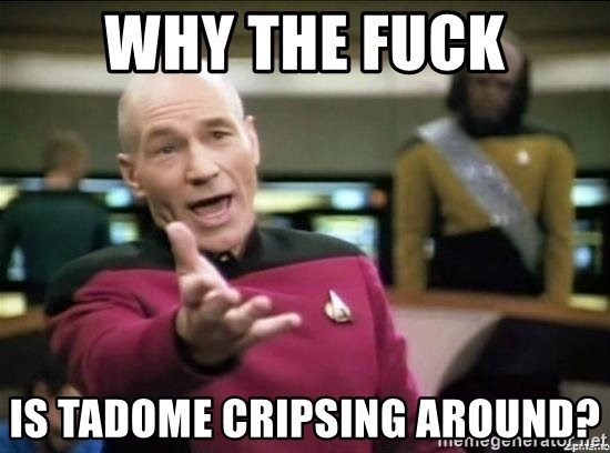 Why the fuck - Why the fuck is Tadome cripsing around?
