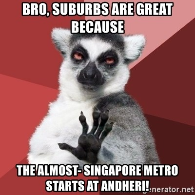 Chill Out Lemur - Bro, suburbs are great because The almost- Singapore Metro starts at Andheri!