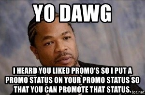Xzibit WTF - Yo Dawg I heard you liked promo's so I put a promo status on your promo status so that you can promote that status.