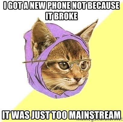 Hipster Kitty - i got a new phone not because it broke it was just too mainstream