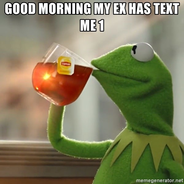 Good Morning My Ex Has Text Me 1 Kermit The Frog Drinking Tea