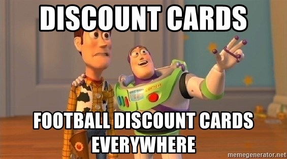 Toy Story Meme - Discount cards  Football discount cards everywhere