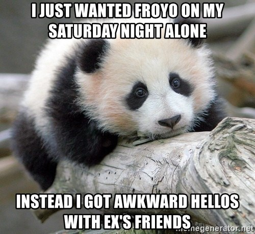 sad panda - I just wanted froyo on my saturday night alone instead i got awkward hellos with ex's friends