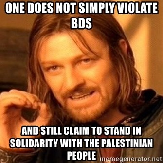 One Does Not Simply - one does not simply violate bds and still claim to stand in solidarity with the palestinian people