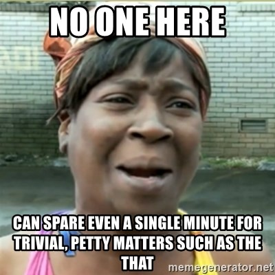 Ain't Nobody got time fo that - No one here can spare even a single minute for trivial, petty matters such as the that