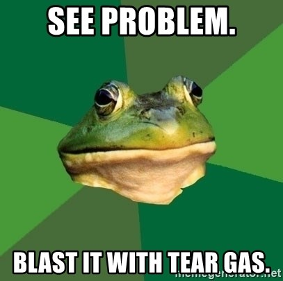 Foul Bachelor Frog - See problem. BLAST IT WITH TEAR GAS.
