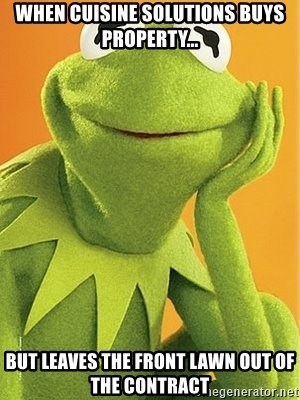 Kermit the frog - When Cuisine Solutions buys property... But leaves the front lawn out of the contract
