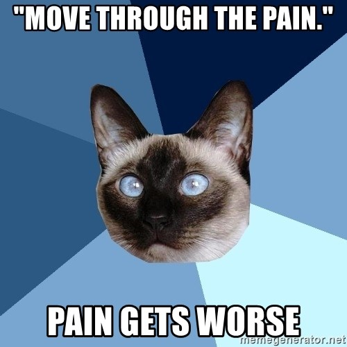 """Chronic Illness Cat - """"Move through the pain."""" Pain gets worse"""