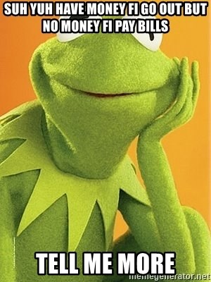Kermit the frog - Suh yuh have money fi go out but no money fi pay bills Tell me more