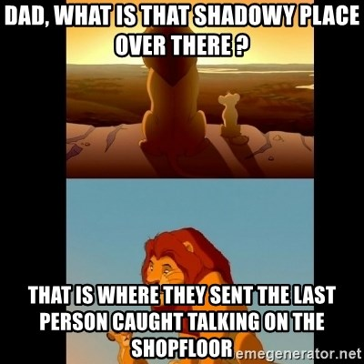 Lion King Shadowy Place - Dad, what is that shadowy place over there ? That is where they sent the last person caught talking on the shopfloor