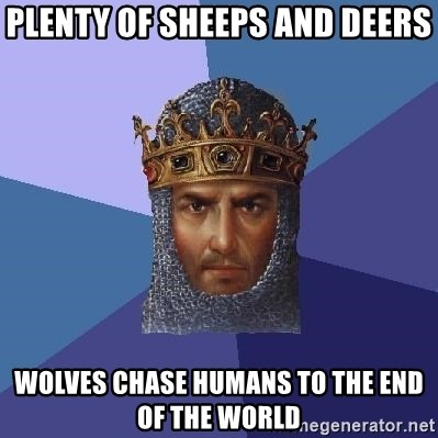 Age Of Empires - PLENTY OF SHEEPS AND DEERS WOLVES CHASE HUMANS TO THE END OF THE WORLD