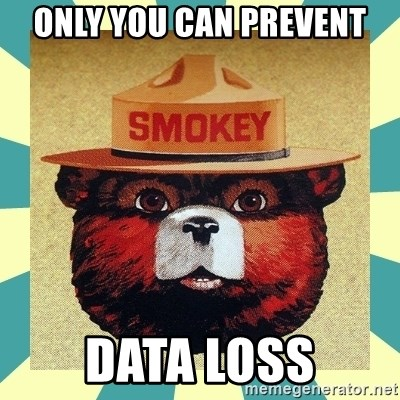 Smokey the Bear - Only You Can Prevent Data Loss