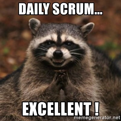 evil raccoon - DAILY SCRUM... EXCELLENT !
